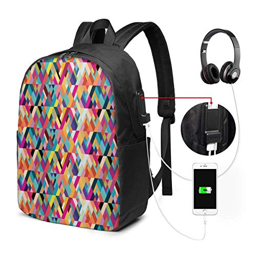 Bauhaus Style Pattern of Geometric Shapes As Colorful Diagonal Tiles Modern Print Laptop Backpack...