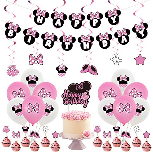 Minnie Party Supplies YUESEN 44PCS Mickey and Minnie Themed 1st Birthday Party Supplies Happy Birthday Banner Polka Dot Balloons Set for Mickey Party Decorations