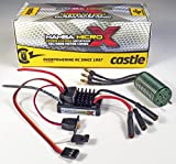 Castle Creations Mamba Micro X 12.6V ESC 2A Peak BEC Cable with 0808-8200Kv Motor Electronic Speed Control & Brushless Motor