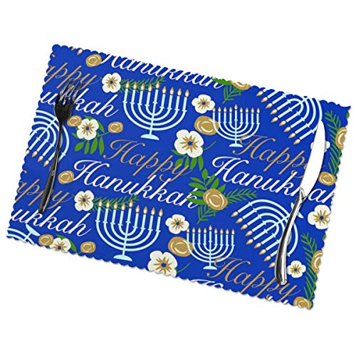 HDDCOMG Placemats Set of 6 for Dining Table Hanukkah Candle Chanukah Table Mats Manual Hand Painted Washable Place Mats for Kitchen Table 12 X 18 Inches