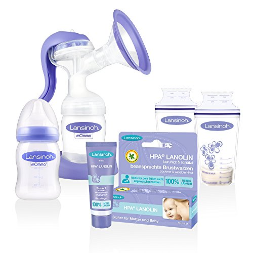 Lansinoh Handmilchpumpe 2-Phasen & Membrantechnologie // NaturalWave Sauger // ab Geburt // 2 x Lansinoh Muttermilchbeutel // Lansinoh HPA Lanolin 10ml 1 Pack