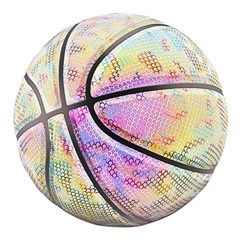 Great Deal! TTAA Glowing Reflective Basketball Night Colorful Wear-Resistant Basketball Sports Ball