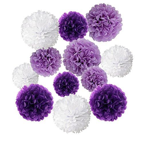 Wartoon Papel Pom Poms Flores Tissue para Decoración de Boda, Fiesta Cumpleaños, Bienvenida al Bebé, 12 Piezas ( Púrpura, Púrpura Clara y Blanco )