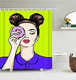 profession Cortina de la duchaCortina de baño de niña de cómic-Pop-Art, Cortinas de Ducha Impermeables, Dibujos Animados, Cortina de baño Impresa con Pantalla de baño para Mujer