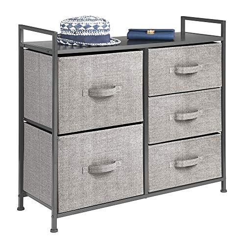 mDesign Tall Dresser Storage Tower - Sturdy Steel Frame, Wood Top, Easy Pull Fabric Bins - Organizer Unit for Bedroom, Hallway, Entryway, Closets - Textured Print, 5 Drawers - Black/Graphite Gray
