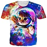 Goodstoworld 3D Print T-Shirts Space Astronaut Cat Women Men Graphic Shirts Beach Party Festival Holiday Surfing Sportswear Athletic Muscle Tee Shirts Medium