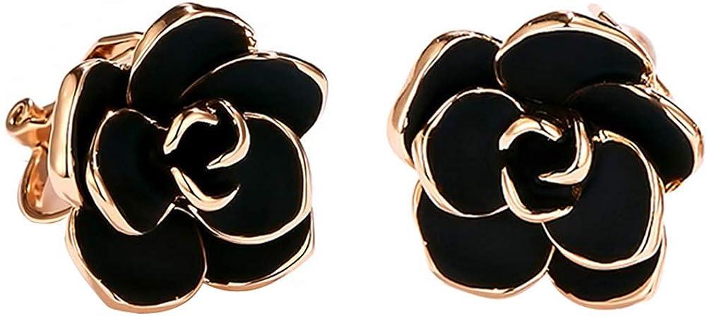 Acefeel Clip On Earrings For Women 15mm Black Rose E201