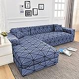 MKQB Funda de sofá de Esquina con impresión geométrica, Funda de sofá en Forma de L, Funda de sofá elástica elástica para decoración del hogar, Sala de Estar N ° 11 1seat-S- (90-140cm