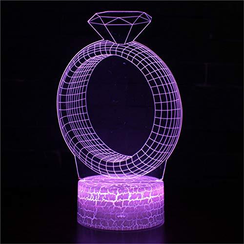 Lámpara de ilusión 3D Anime Led Luz Diamante Anillo Niños Luz de Noche Led Sensor Táctil Dormitorio Lámpara Decorativa Regalo de Vacaciones para Niña Lámpara de Noche
