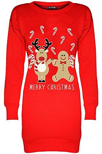 Fashion Star Women Christmas Fleece Santa Tunic Jumper Dress Reindeer Gingerbread Candystick Red Plus Size (UK 20/22)