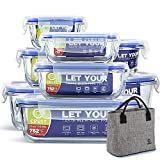 [8-Pack+ Lunch Bag Free] Glass Containers with Lids for Food Storage Airtight - Glass Lunch Containers