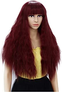 PATTNIUM Burgundy Wig Long Curly Wig Dark Red Wig Curly Red Wig with Bangs Red Afro Hair for Women Cosplay Costume Fun Wig...
