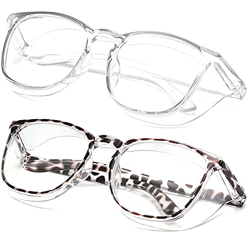 SeeBand Anti Fog Safety Glasses Nurse Goggles Oversize Square Frame Clear Anti Blue Light Glasses for Women Men (Transparent + Black Leopard)