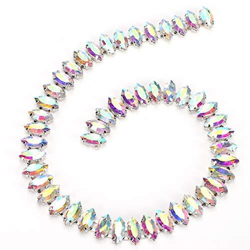 Mano de obra exquisita Cadena de diamantes de imitación de colores Cadena de diamantes de imitación de marquesa Robusta y duradera para manualidades hechas a mano