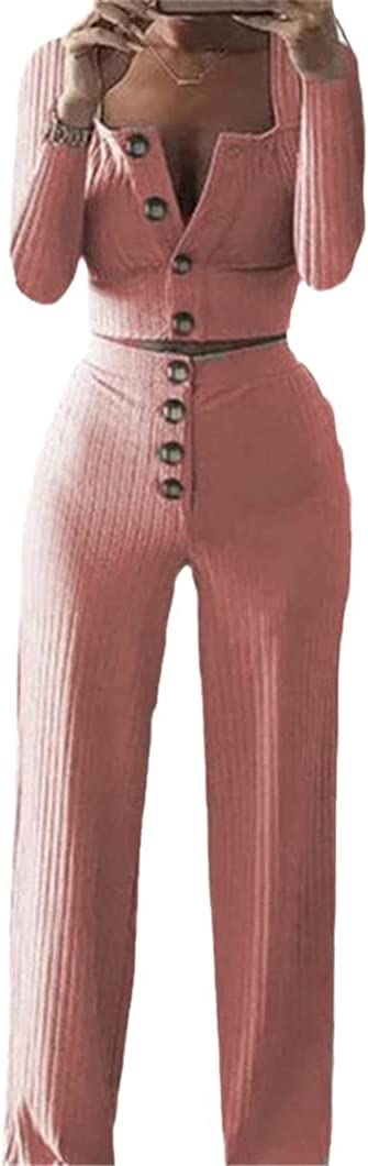 Women 2 Piece Set Long Sleeve Cardigan Slim Button Casual Set Sweater Top+Elastic Waist Pant Knitted Suit Women Coat