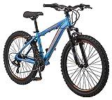 Mongoose Flatrock Boys Hardtail Mountain Bike, 24-Inch Wheels, 21 Speed Twist...