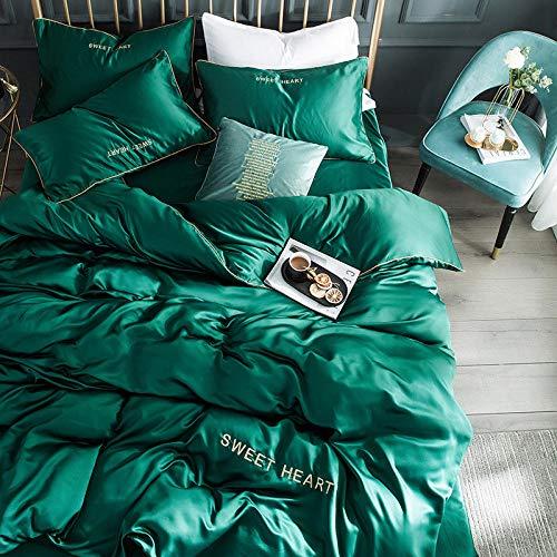 zlzty Beddengoedset van zijde, dekbedovertrek van zijde, hoeslaken van geborsteld katoen, kingsize beddengoedset@1,2 m Bed Linen_Coffee Camel