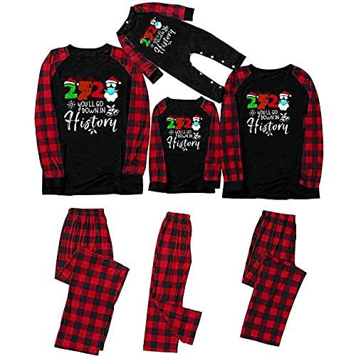 Matching Pajamas Sets for Womens Christmas Snowman Print Sleepwear Red Plaid Print Nightwear