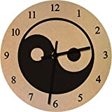 Azeeda 275mm 'Símbolo de Yin Yang' Reloj de Pared Grande de MDF (CK00022971)