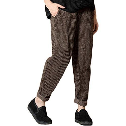 Himifashion Frauen - Herbst/Winter Casual Cordhose Hose mit Taschen und größe (braun, XL)