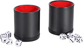 SMONET Traditional Professional PU Leather Dice Cup Set with 5 Poker Dices and Cotton Canvas Storage Bag for Party Bar KTV and Casino
