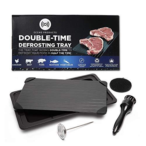 Eccho Products Doppel-Time Auftauschale, Rapid Auftauplatte, Auftauplatte für gefrorenes Fleisch, Auftauplatte für Fleisch mit Abtropfschale, Fleischklopfer, Fleischthermometer und Silikonschwamm