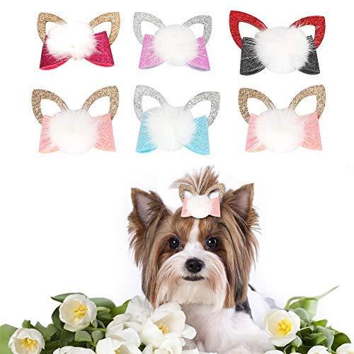 Pssopp 10 Stücke Hunde Schleifen Hundeschmuck Haarschleifen Haustier Hunde Haarspange Hundesalon Headwear Pet Haarschmuck für Haustier Hunde Katze Welpen