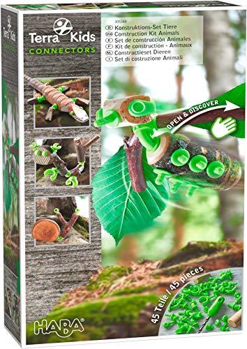 HABA 305344 - Terra Kids Connectors - Konstruktions-Set Tiere, Kinder-Bastelset für kreative Kreaturen, Verbinder aus Kunststoff für Holz und Kork, mit Handbohrer und Anleitung