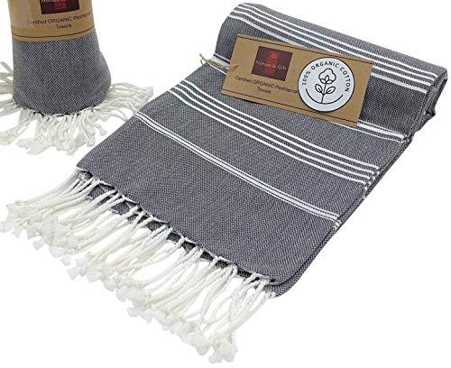 Organic Cotton Bath Beach Towels | Spa Sauna Hammam Yoga Gym Hamam Towel | Fouta Peshtemal Pestemal Blanket Gray Pinstripe | Size 36x70 Inches