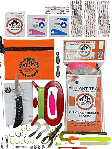 Vigilant Trails Survival Fishing, Hiking Gear, Bug Out Bag, Emergency Preparedness, Survival-Pocket Fishing Kit Stage-1