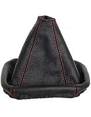 L & P Car Design L&P A0026 Funda Saco Cuero Piel Genuina Negro con Costura roja Rojo de Palanca de Cambios Cambio Velocidad velocidades Marchas Saco de conmutación