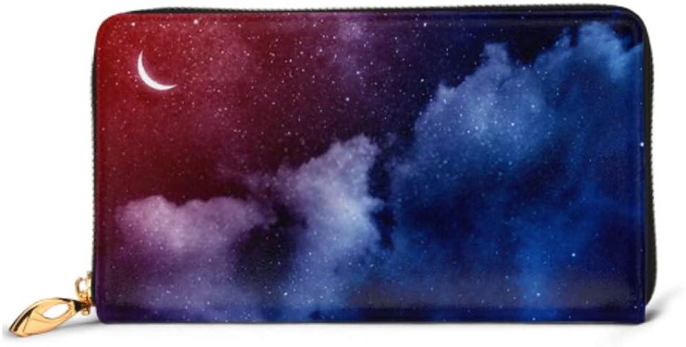 Fashion Handbag Zipper Wallet Nightly Sky Large Moon Phone Clutch Purse Evening Clutch Blocking Leather Wallet Multi Card Organizer
