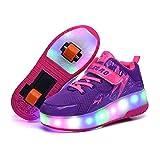 Unisex Niños LED Luz Flash Zapatos de Roller con USB Recargable Automática Ruedas Patines Al Aire Libre Gimnasia Zapatillas de Skateboard para Niñas