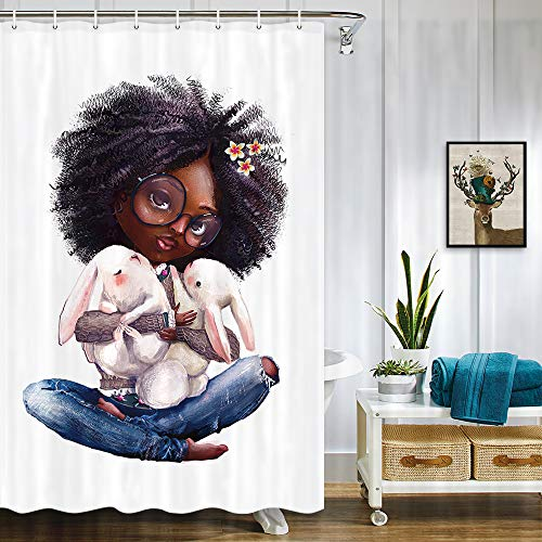 NYMB African Woman Shower Curtain Black Girl, African Afro Girls Holding Rabbit Bath Curtains, Waterproof Fabric Bunny Shower Curtain for Bathroom 12PCS Hooks (47' W by 64' L)