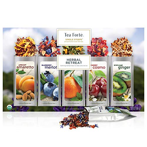 Tea Forte Herbal Retreat Calming Tea Sampler, Single Steeps Organic Loose Leaf Tea Gift Box Variety Pack of 15 Single Serve Pouches with Naturally Decaffeinated Herbal Fruit Tea Infusions