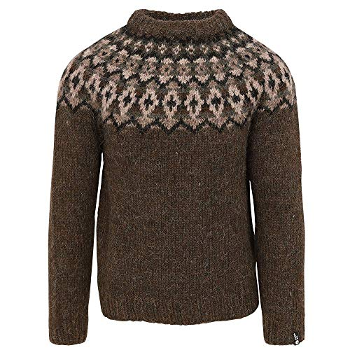 ICEWEAR Snorri Mens Hand Knitted Wool Sweater | 100% Icelandic Wool Long Sleeve Crew Neck Outdoor Winters Jumper | Dark Green - Medium