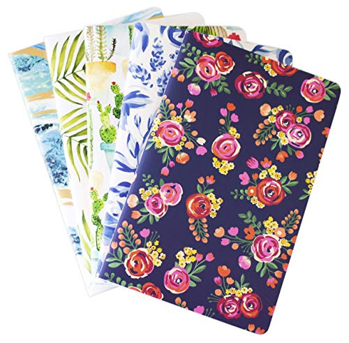 """bloom daily planners Field Notebook Set 35"""" x 55 - Pack of 5 - Pocket Size Lined Memo Books  Mini Travel Journals in Assorted Patterns - Small Notepads with Flexible Soft Cover"""