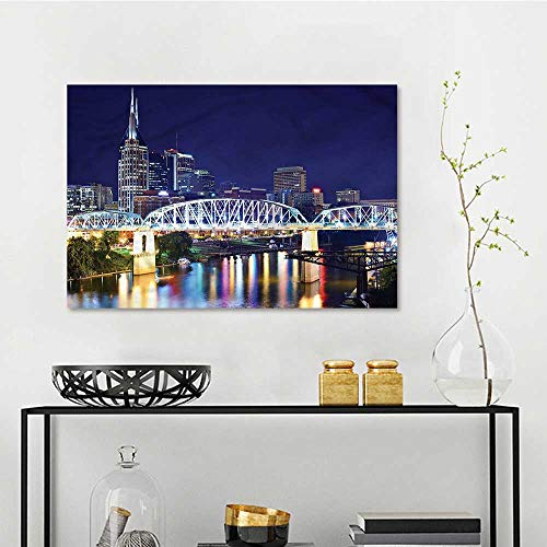 one1love Travel Anti-Fading Oil Painting Downtown Nashville Tenessee On Canvas Abstract Artwork W31 xL23