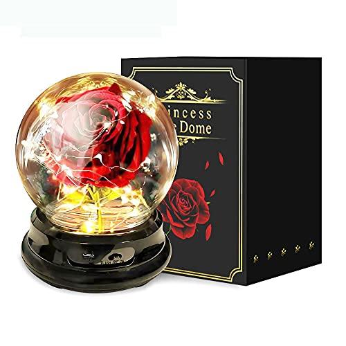 Forever Rose - Lámpara de cristal con forma de cúpula de rosa, luz de noche con base de plástico para San Valentín, cumpleaños, boda, día de la madre, aniversario