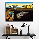 HAOOMOSP Lienzo artístico de 40 x 60 cm, sin marco, Salvador Dali, la resistencia de los recuerdos de los relojes, pintura surrealista, póster, murales de pared, para salón, decoración del hogar