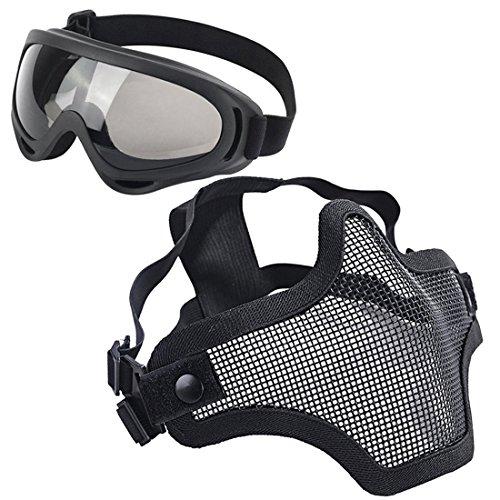LAOSGE Paintball Maske, Airsoft Schutzausrüstung, Set mit Halbgesichtsmasken Maske Paintball Schutzbrille Klar Stahl Maske üBerbrille für CS/Jagd/Paintball/Shooting (Black)