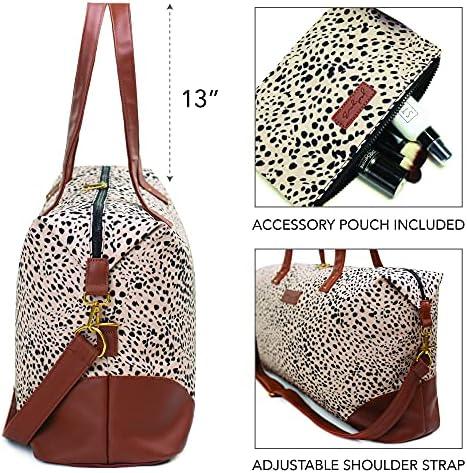 Jadyn Luna Women's Weekender Bag and Travel Duffel, Large 37 Liter Capacity (Cheetah Spot)