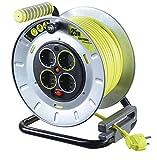 Master Plug Pro-XT de Metal L Carrete alargador de Cable con 4 enchufes, Interruptor y con protección térmica, 25 m, OTMG25164SL - px