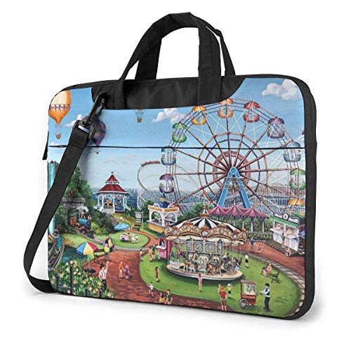 AOOEDM Laptop Case Computer Bag Sleeve Cover Carnival Day Ferris Wheel Waterproof Shoulder Briefcase 13 14 15.6 Inch