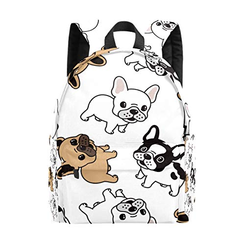 Kid's Backpacks Dog French Bulldog Cartoon Rucksack Cute Student School Book Bags