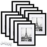 upsimples 8x10 Picture Frame Set of 10,Display Pictures 5x7 with Mat or 8x10 Without Mat,Multi Photo Frames Collage for Wall or Tabletop Display,Black