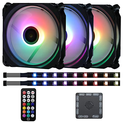 DS Axis Rainbow LED Addressable RGB 120mm Case Fan with Controller for PC Cases, CPU Coolers, Radiators System (3pcs RGB Fans, 2pcs led Strips, E Series)