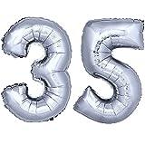 DekoRex® número Globo decoración cumpleaños Brillante para Aire y Helio en argentado 120cm de Alto No. 35