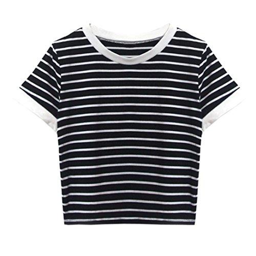 TUDUZ Damen Gestreift Crop Top Kurzarm Streifen Shirt Oberteile (M, Schwarz -D)