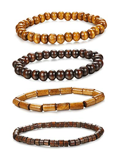 Adramata 4-12Pcs Wooden Beaded Bracelet Leather Braided Bangle for Men and Women Elastic 5-8MM Beads